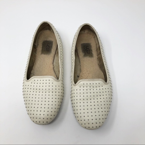 UGG Shoes - EUC UGG Slip ons white with silver tone studs 8